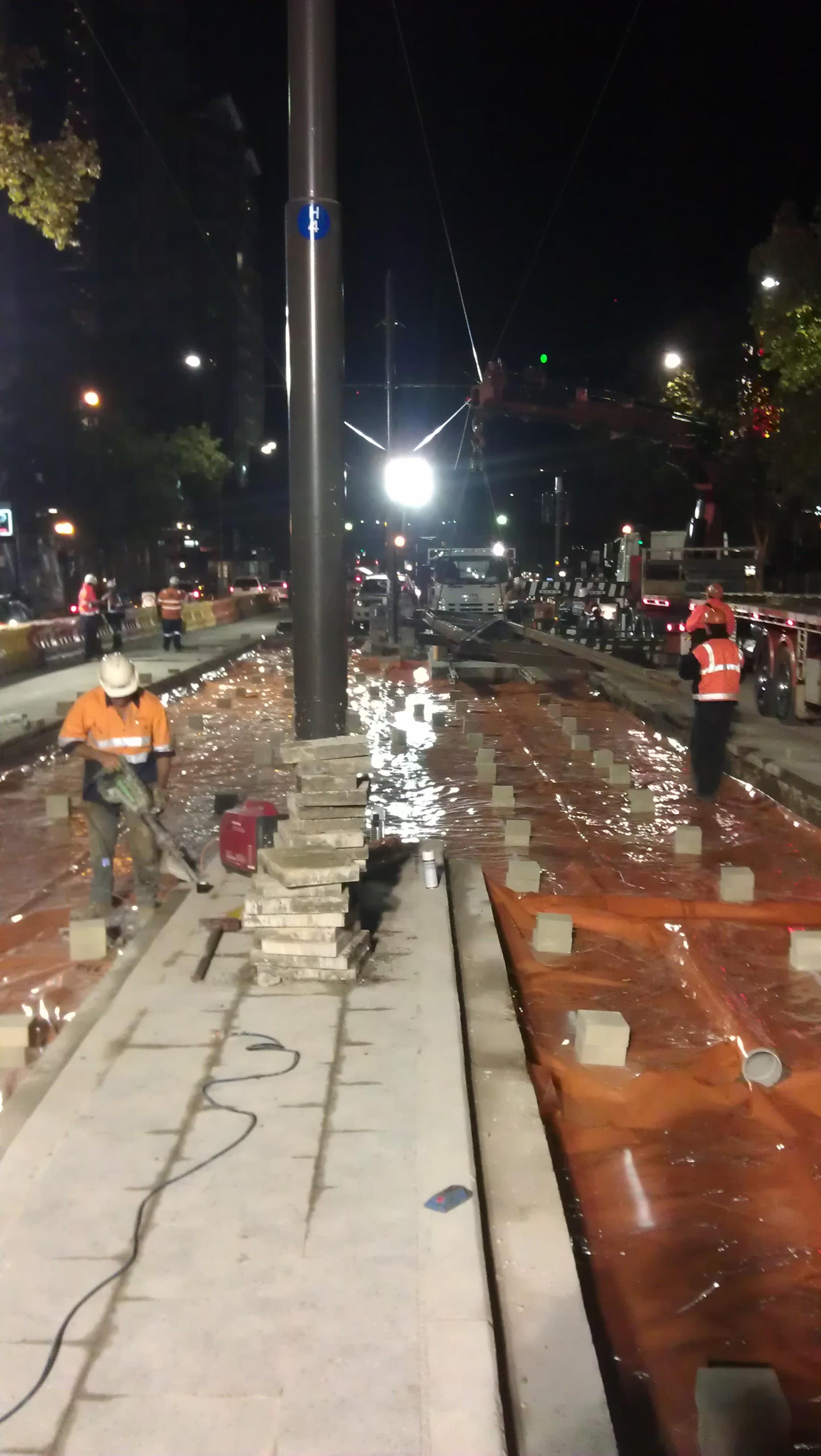 Tram - night works