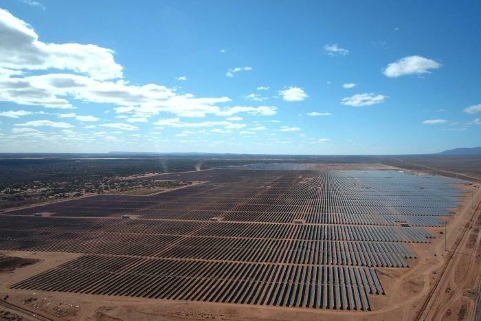 aerial shot of solar farm